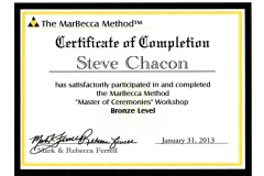 Steve Chacon Bronze Master Of Ceremonies Training